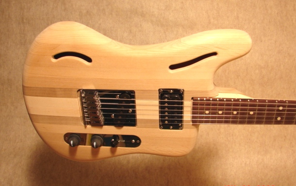 The finished guitar after adding all the parts