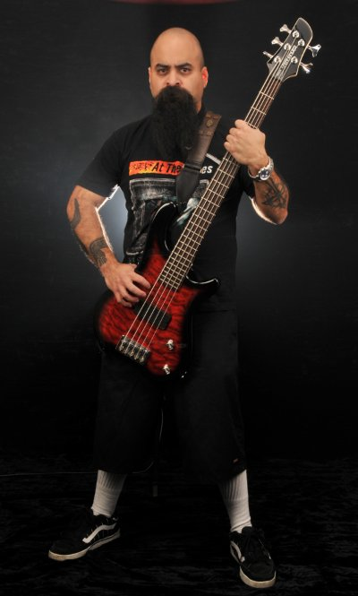 Tony Campos with his new Signature Tremor 5 Bass Guitar