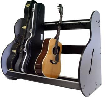 The Band Room Guitar Case Rack Is Made Of Hardwood Rails And A Brushed  Aluminum Finished Melamine Sides. An Optional Transportation Kit That  Enables The ...
