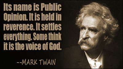 Voice of God quote from Mark Twain